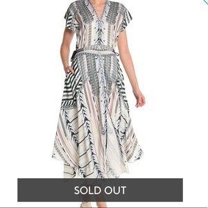 Hale bob patterned V Neck Midi Dress M